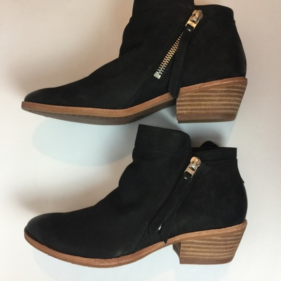 c8265ba7438666 Sam Edelman Packer Black Leather Ankle Boots - NIB